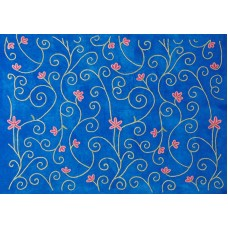 Crewel Fabric Bumsin Royal Blue Cotton Velvet