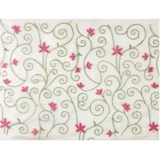 Crewel Fabric Bumsin White Silk Organza