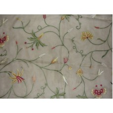 Crewel Fabric Butterfly Art Silk Embroidery on Natural White Sil