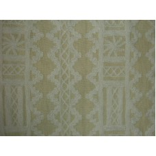 Crewel Fabric Chariot White on Mint Linen
