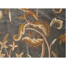 Crewel Fabric Chelsea Hunter Green Cotton Velvet