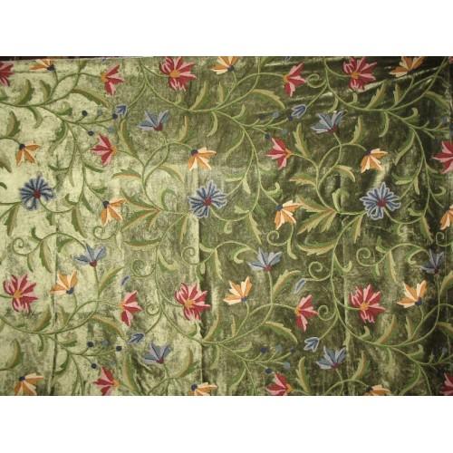 Crewel Fabric Chinar Dark Green Cotton Viscose Velvet