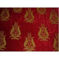 Crewel Fabric Blooms Passion Red Cotton Velvet