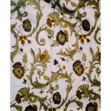 Crewel Fabric Curve Forest Colors on Off White Cotton Duck