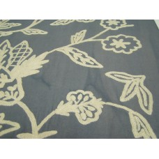 Crewel Fabric Flora Fresh Cream On Mineral Cotton Duck