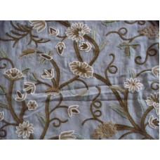 Crewel Fabric Grapes Sky Blue Cotton Duck