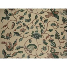 Crewel Fabric Hearty Florals Greens on Butter Khaki Cotton Duck