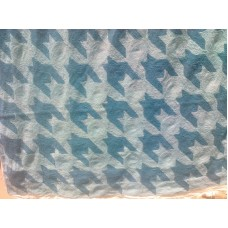 Crewel Fabric Hound's Tooth Blue on White