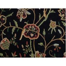 Crewel Fabric Lotus Black Nocturn Cotton Velvet