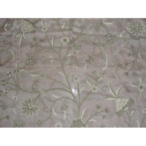 Crewel Fabric Tree Of Life Neutrals On Classic White Silk
