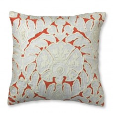 Crewel Flower Appliqué with Off White Embroidery Pillow Cover