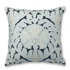 Crewel Flower Appliqué with Light Blue Embrodiery Pillow Cover