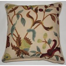 Crewel Pillow Alissa Cream Cotton Duck (20x20)