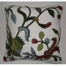 Crewel Pillow Alissa White Cotton Duck (16x16)