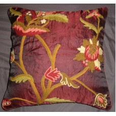 Crewel Pillow Allium Vermillion Silk Organza