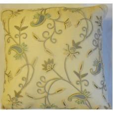 Crewel Pillow Almond RawSilk Silk Organza