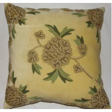 Crewel Pillow Amarylo Beige Cotton Velvet