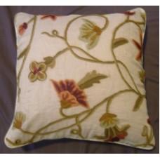 Crewel Pillow Amaryllis Classic White Silk Organza