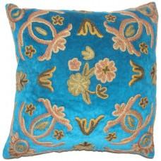 Crewel Pillow Art Nouveau Turquoise Silk Organza