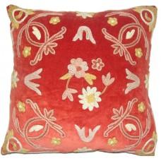 Crewel Pillow Art Nouveau Red Cotton Velvet (16x16)