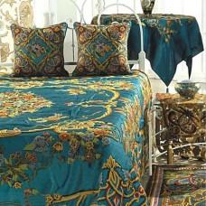 Crewel Pillow Art Nouveau Turquoise Cotton Duck Standard Sham