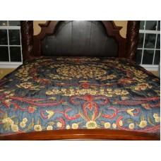 Crewel Pillow Art Nouveau Navy Blue Silk Organza Standard