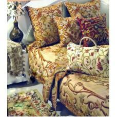 Crewel Pillow Art Nouveau Troy  Silk Organza Standard