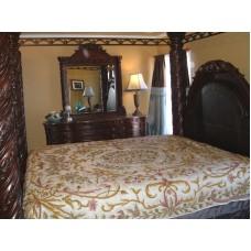 Crewel Pillow Art Nouveau Peach Puff  Silk Organza Standard