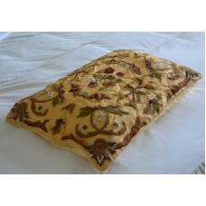 Crewel Pillow Art Nouveau Hay Gold  Silk Organza 20x26