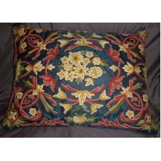 Crewel Pillow Art Nouveau Navy Blue Silk Organza