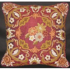 Crewel Pillow Art Nouveau Red Silk Organza