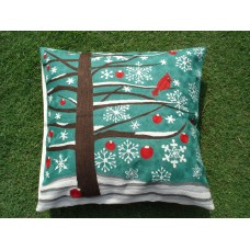 Crewel Pillow Birdie on Christmas Browns on Teal Blue Cotton Duc