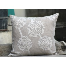 Crewel Pillow Bloom and blossom White on Grey Cotton Duck
