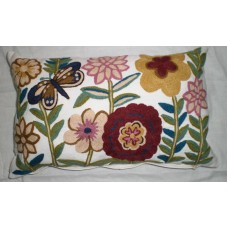 Crewel Pillow Butterfly n Blooms Multi Color on Off White Cotton