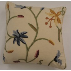Crewel Pillow Butterfly Off White Natural Cotton
