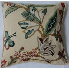 Crewel Pillow Outdoor Butterfly Bush Cream Cotton Duck