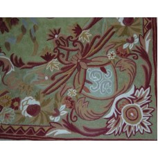 Crewel Rug Art Nouveau Green Chain Stitched Wool Rug