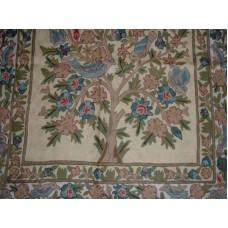 Crewel Rug Banyan Tree Multi Chain Stitched Wool Rug