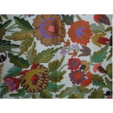 Crewel Rug Bright Flowers Multi Chain Stitched Wool Rug