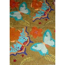 Crewel Rug Butterfly Green Chain Stitched Wool Rug