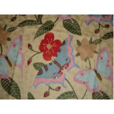 Crewel Rug Butterfly Sky Blue Chain Stitched Wool Rug