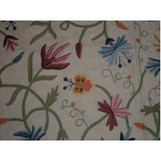 Crewel Rug Butterfly on Flowers Cream Chain Stitched Wool Rug
