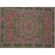 Crewel Rug English Garden with Green and Pink Chain Stitched Wool Rug