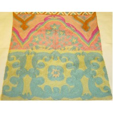 Crewel Rug Floral Medallion Forest Colors on White Chain Stitched Wool Rug