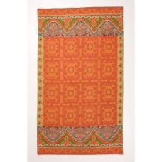 Crewel Rug Floral Fresco Orange Chain Stitched Wool Rug