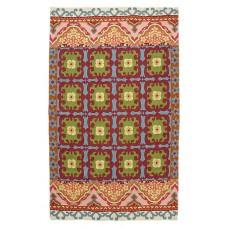 Crewel Rug Floral Fresco Purple  Multi Chain Stitched Wool Rug