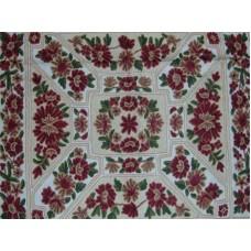 Crewel Rug Floral Vine Arrangement Multi Chain Stitched Wool Rug