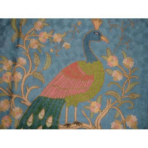 Crewel Rug Perched Peacock Blue Chain Stitched Wool Rug