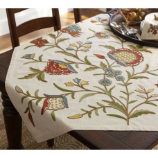Crewel Table Throw Tree of life Multi Cotton Duck