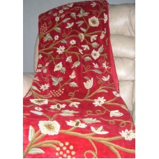 Crewel Throw Grapes Dreams Exotic Red Cotton Velvet